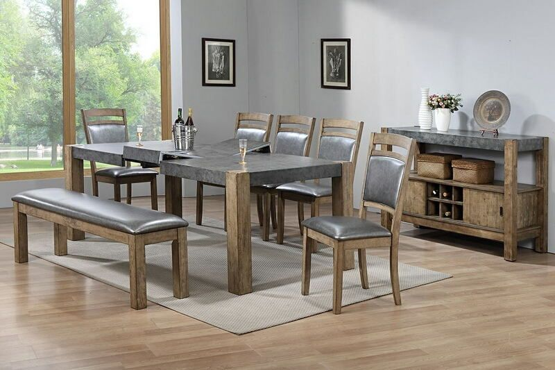 8 pc Barrister collection rustic distressed natural wood finish