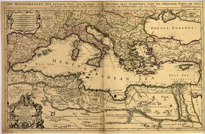 Mediterranean 1685 antique map cartography old prints rare mediterranean 1685 antique map cartography old prints rare vintage royalty free gumiabroncs Images