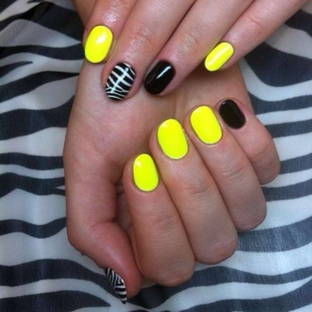 Zebra print mani in yellow and black colours :: one1lady.com :: #nail #nails #nailart #manicure