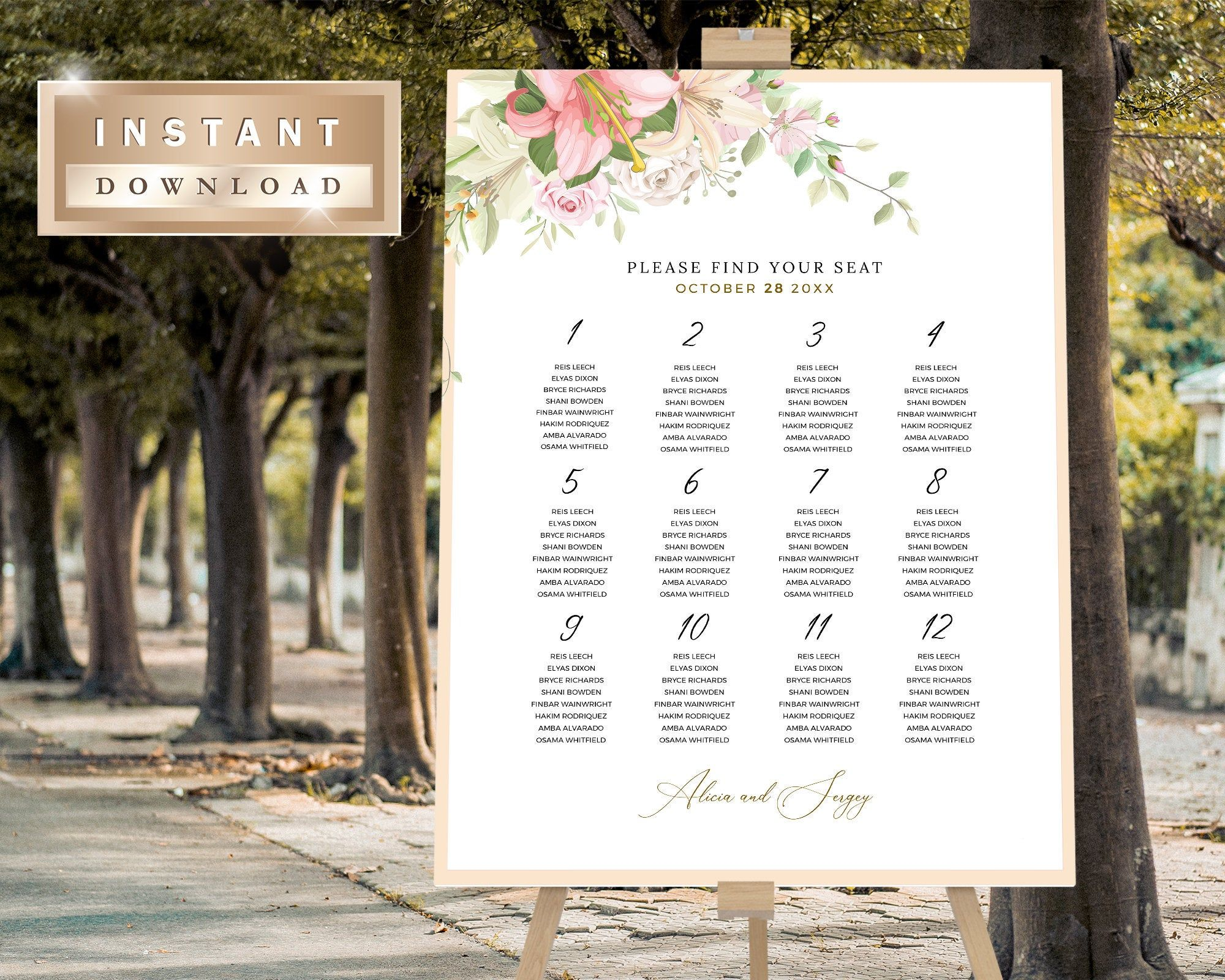 Blush Seating Chart Template, Printable Wedding Seating Chart, Template Seating Chart Sign, Table Plan Seating Plan Edit In TEMPLETT   MIMI Gallery