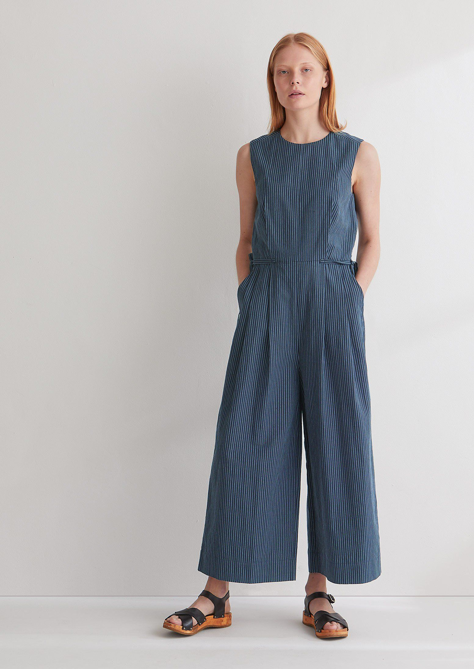 e01ccd66b1d Stripe Cotton Linen Jumpsuit