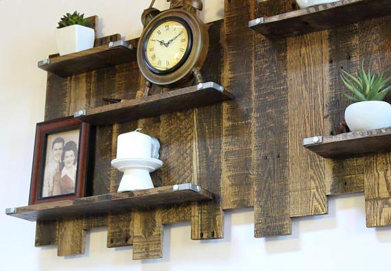 Reclamado el estante de madera de la pared, decoración de la pared - decoracion con madera en paredes