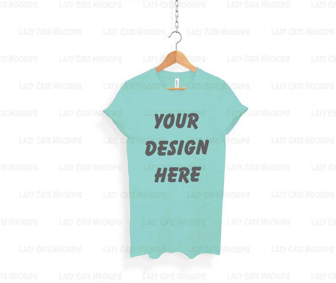 Download Heather Mint Bella Canvas 3001 Mock Up On Hanger Shirt Mock Up Etsy In 2021 T Shirt Design Template Shirt Mockup T Shirt Image
