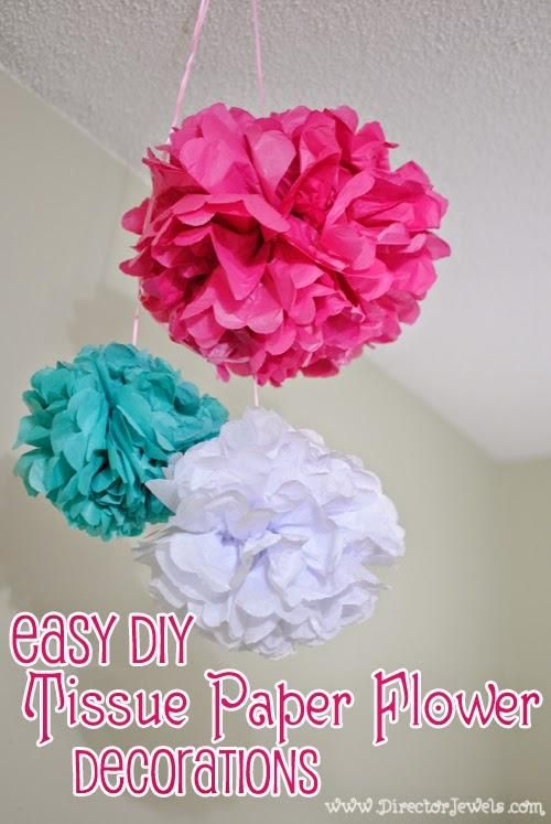 DIY Kids Birthday : DIY Tissue Paper Flower Poof Decorations