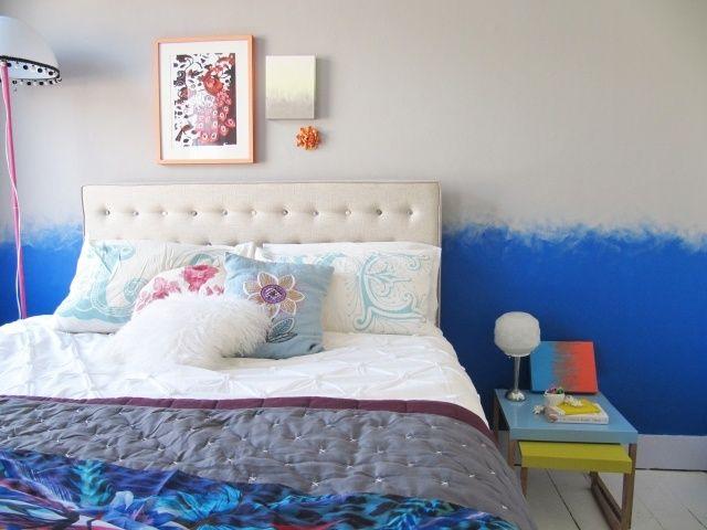 maltechniken effekte ombre weiß blau schlafzimmer wand Wohnung - wandgestaltung mit farbe streifen schlafzimmer