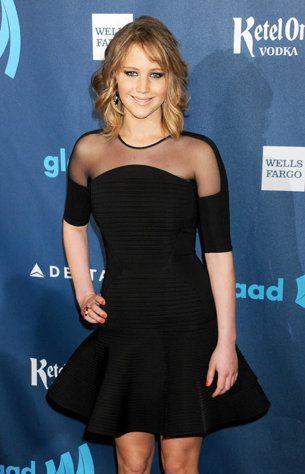Jennifer Lawrence with the new short haircut at GLAAD Media Awards April 2013 #Jennifer #Lawrence #JenniferLawrence