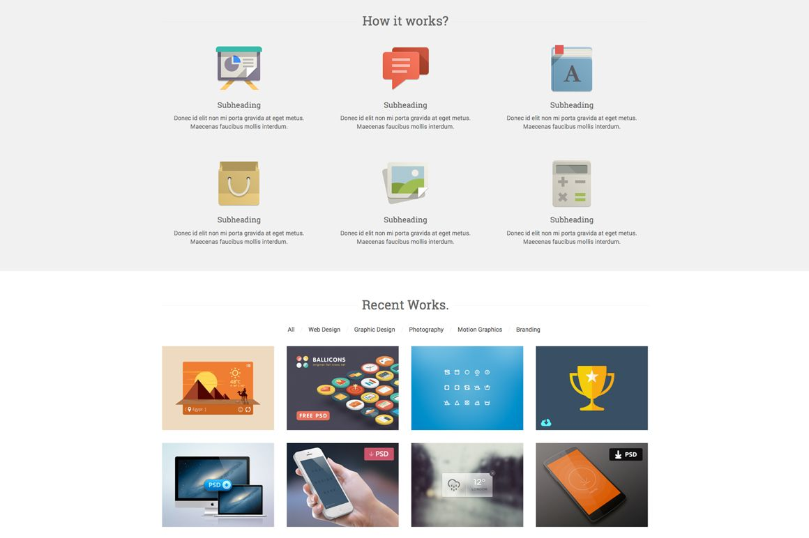Start - Responsive One Page Template by YoArts on Creative Market ...
