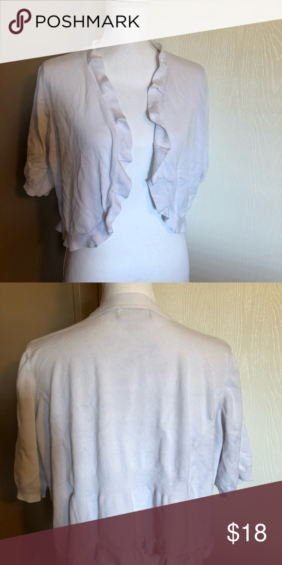 ba0e4fbe36c Dress barn ruffle edge 3x cardigan sweater Dress barn ruffle edge white cardigan  3x Plus Dress barn brand Gently used Pre washed only worn a time or 2 Ships  ...