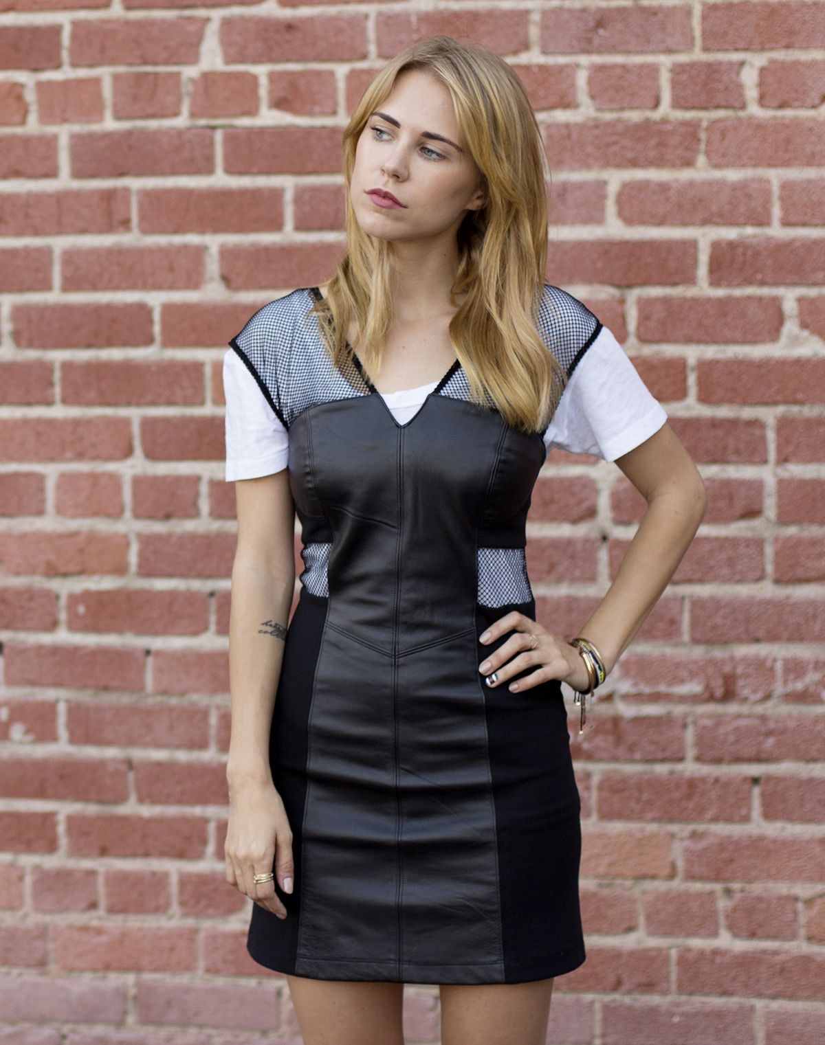 Lna Tee Veda Leather Dress Always Judging