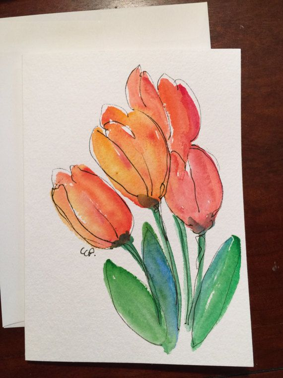 Printemps Des Tulipes Aquarelle Carte Carte Aquarelle Peint A La