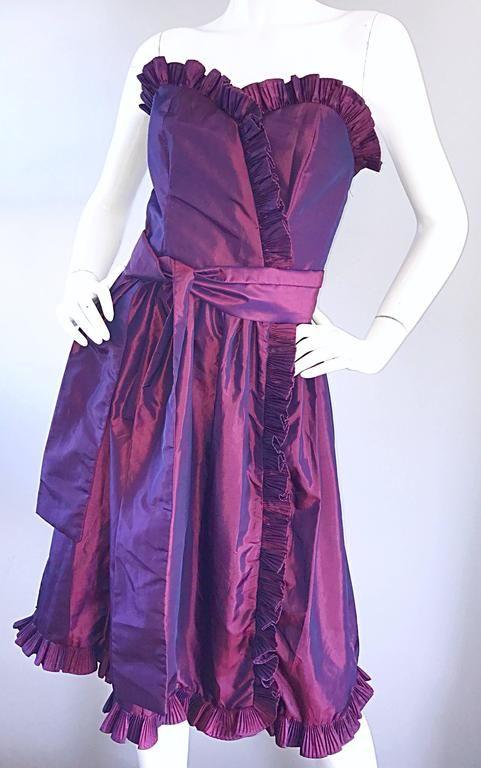2944c986b05 Vintage Victor Costa for Neiman Marcus Purple Metallic Silk Taffeta Dress +  Belt 1980
