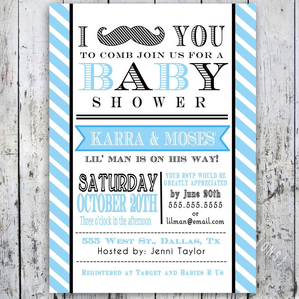 Little Man Mustache Baby Shower Invitation Digital Printable Custom Invites 12 49 Via Etsy