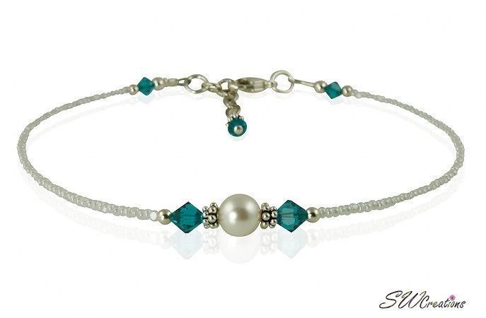 SWCreations Beaded Jewelry Designs - Custom Crystal White Pearl Beaded Anklets, $34.90 (http://www.swcreations.net/cag01a-custom-crystal-white-pearl-beaded-anklets-beaded-jewelry/anklets/8-9-inch-anklets.html)