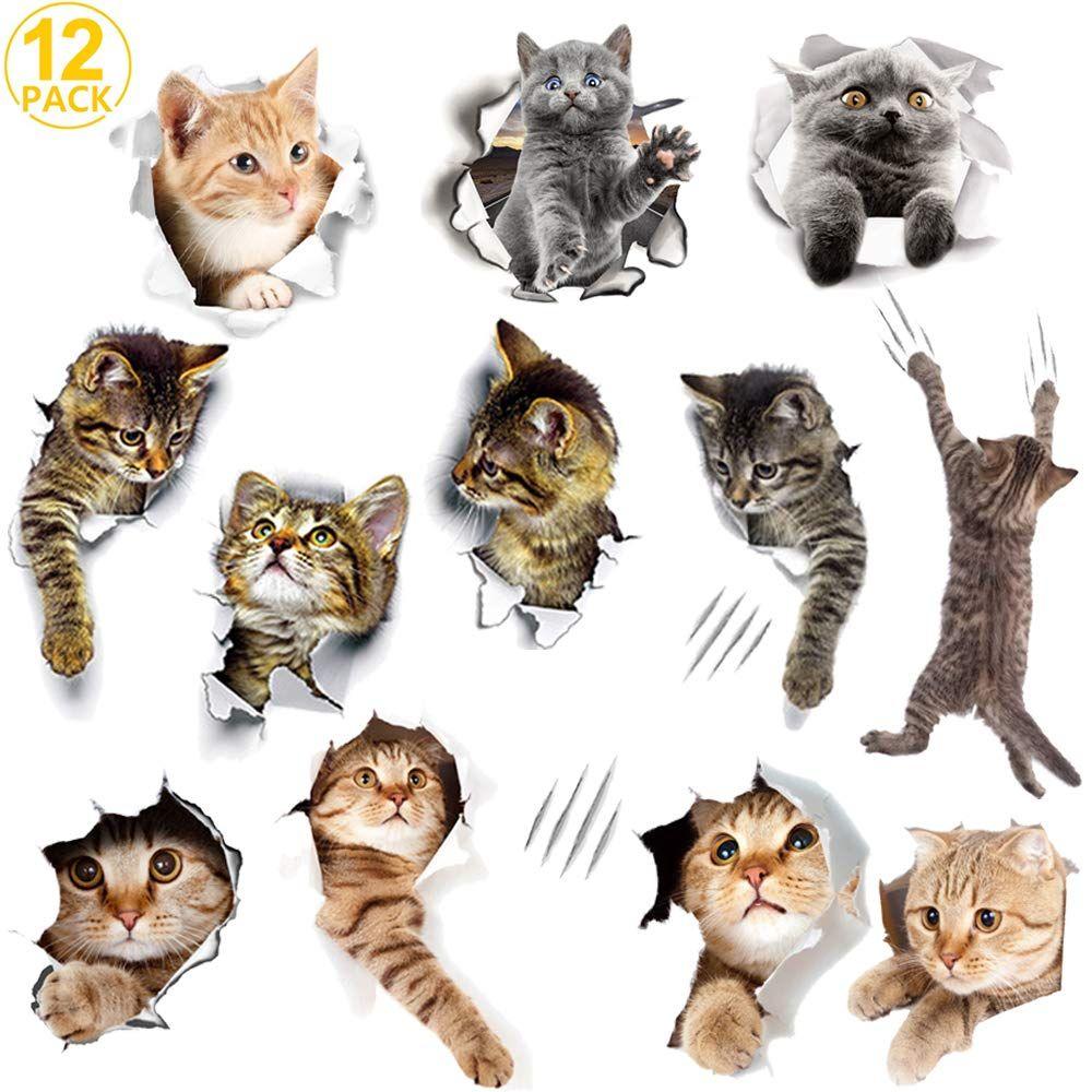 WMdecal 12PCS Removable 3D Cartoon Animal Cats Vinyl Wall
