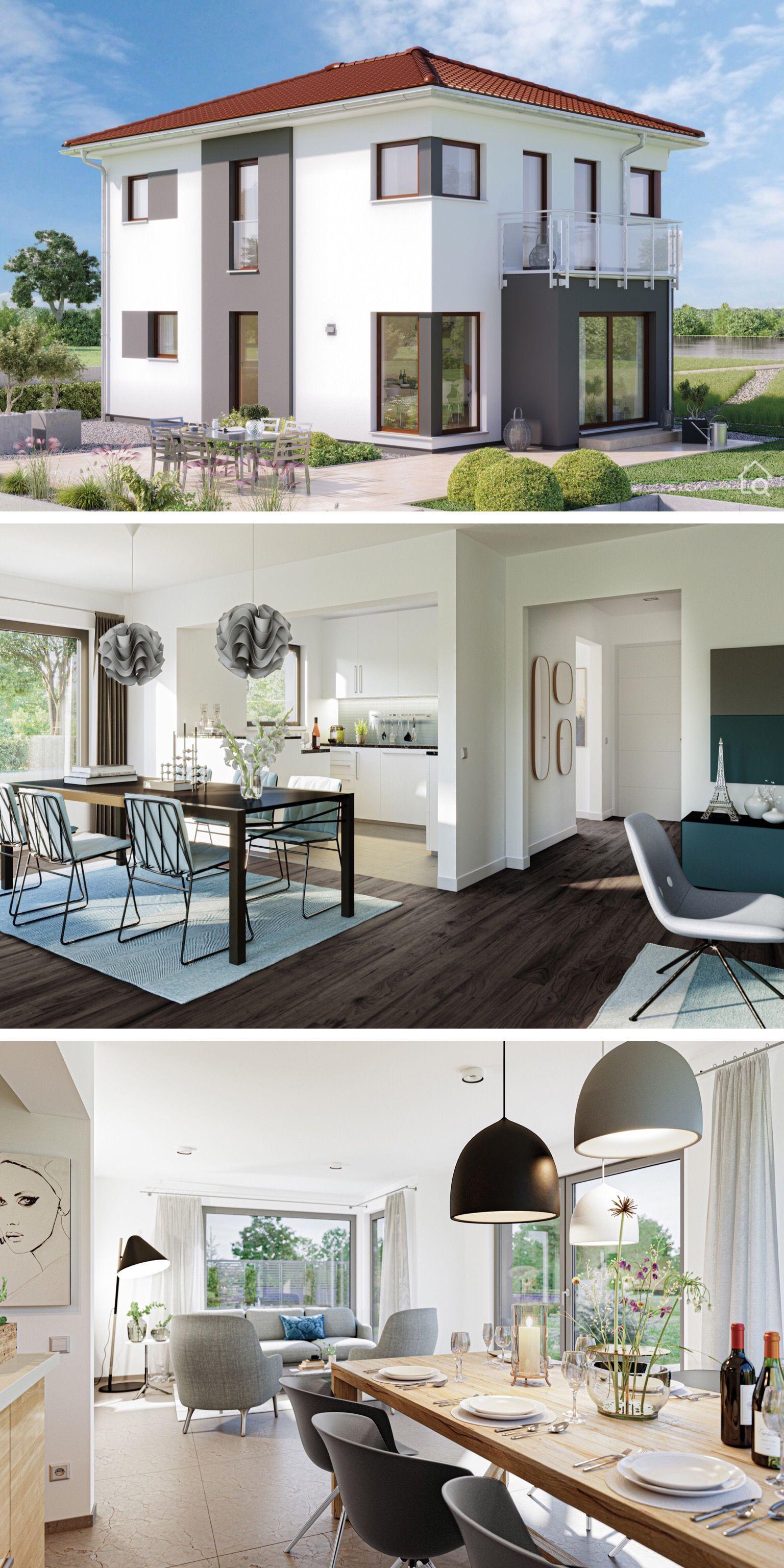 Modernes Haus Design Stadtvilla aussen mit Walmdach, Erker