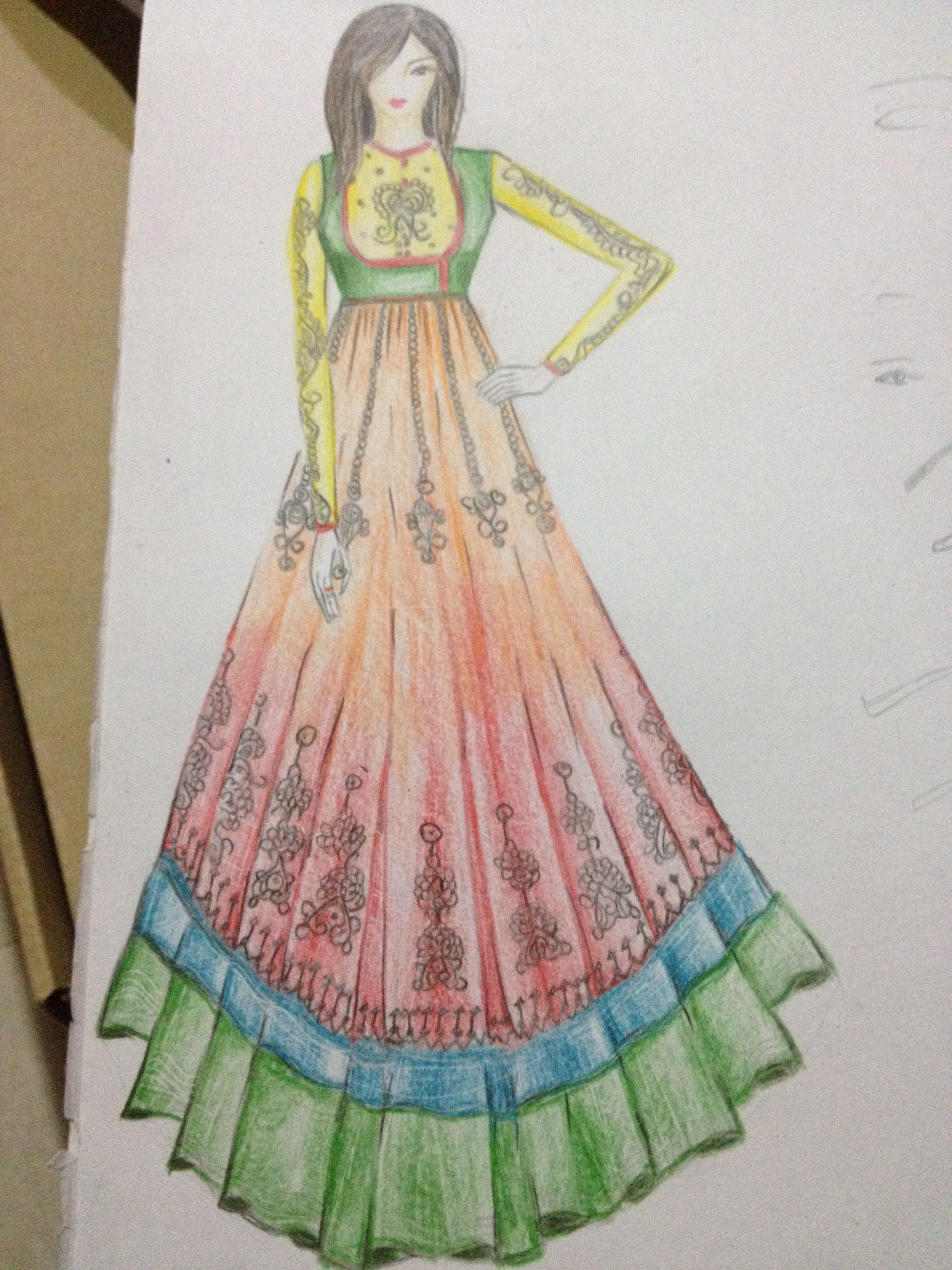 Anarkali Dress Dress Design Sketches Fashion Design Books Sketches