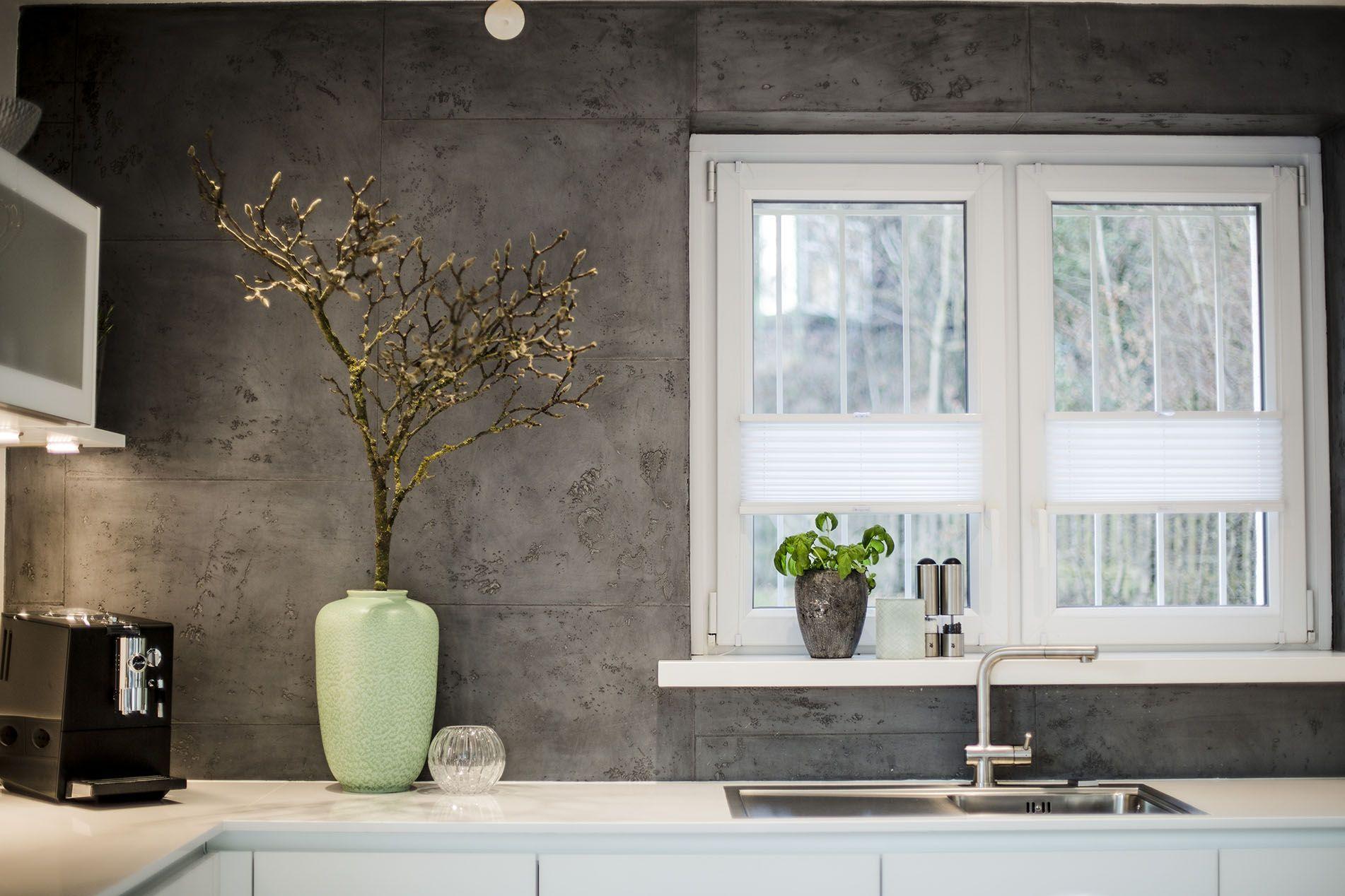 Küchenfront betonoptik ~ Wandgestaltung betonoptik magnolienzweig küche kitchen