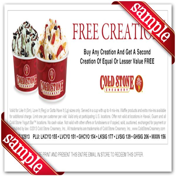 picture regarding Cold Stone Printable Coupon named Chilly Stone Creamery Printable Coupon December 2016