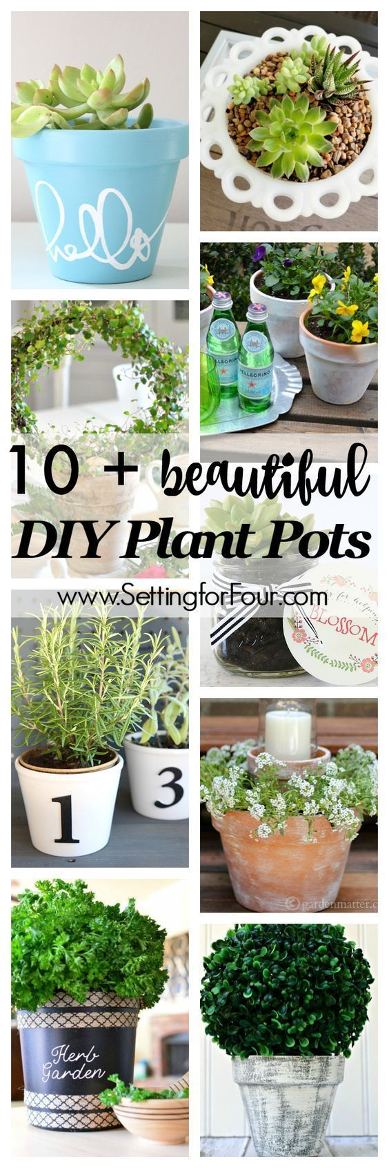 10 Beautiful DIY Plant Pots - Setting for Four