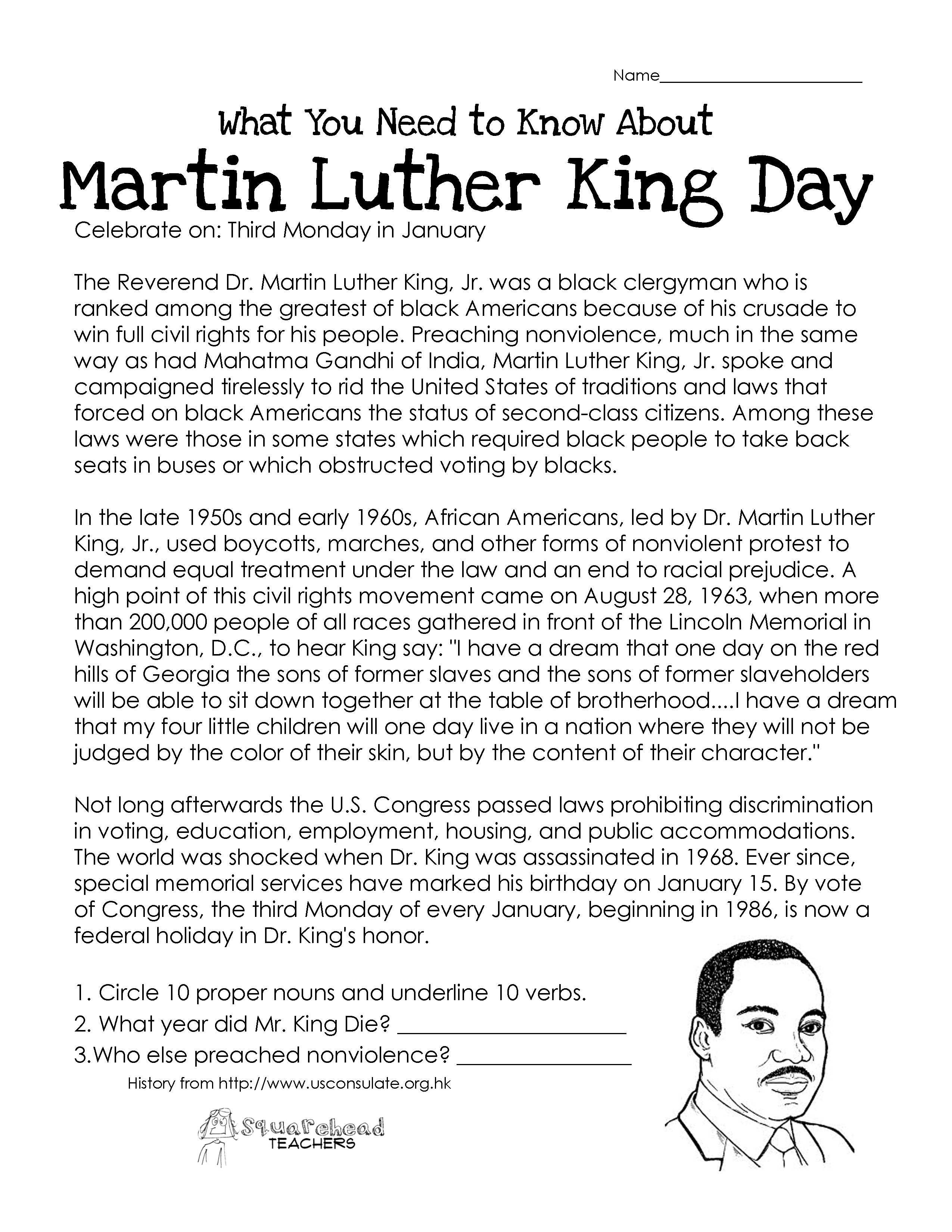 This free worksheet about Martin Luther King Day covers the basic – Free History Worksheets