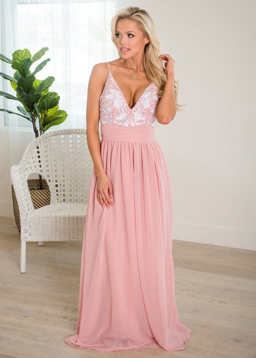Blush Floral Spaghetti Strap Maxi Dress, Maxi Dress, Open Back ...