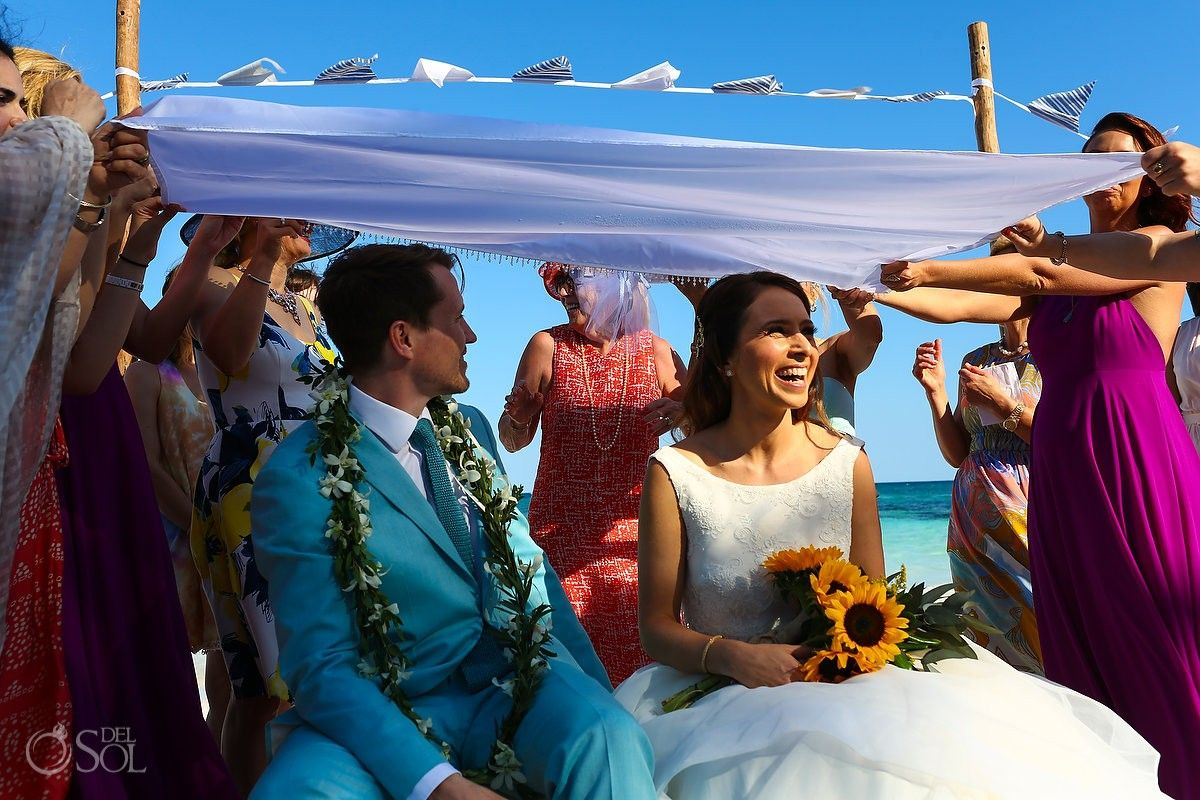 Hotel Esencia Beach Wedding The Seated Ceremony With Sophreh Table Spread And
