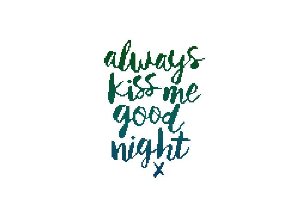 Always kiss me goodnight, from Annie, cross stitch pattern