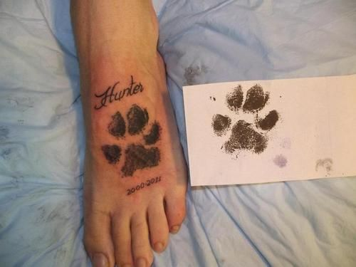 Paw Print Dog Memorial Tattoo