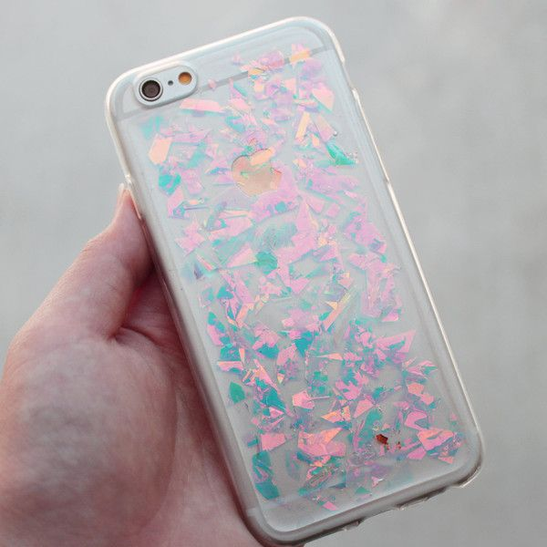 Holographic Hologram Flake iPhone 5/6/6 Plus/7/7 Plus Case ❤ liked on Polyvore featuring accessories and tech accessories