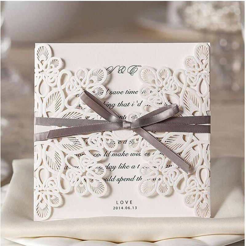 10Pcs Delicate Carved Pattern Romantic Wedding Invitations Card - invitation card decoration