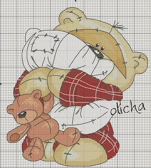 Schema punto croce orsetto hobby lavori femminili for Schema punto croce orsetto