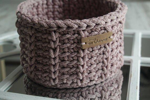 Lilac small crochet basket, Christmas gift basket, Christmas decor, Small round basket, Crochet stor #crochetbowl