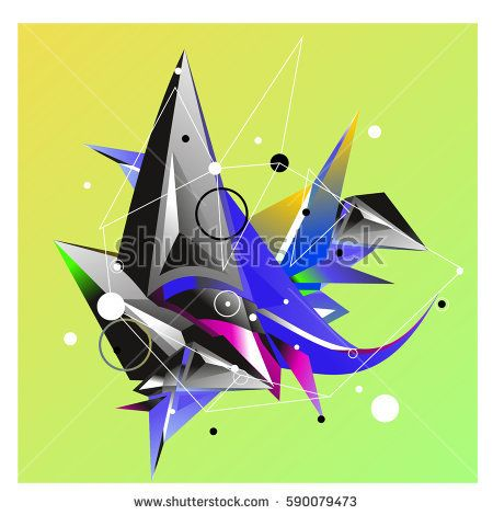 Vector of triangle fractal geometric 3d forms. Modern info banner abstract backgrounds for poster, message presentations or identity layouts. Graphic template and ideas.