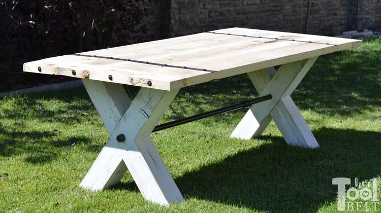 Super Chunky X Table Plans Her Tool Belt Picnic Table Farmhouse Picnic Table Diy Picnic Table