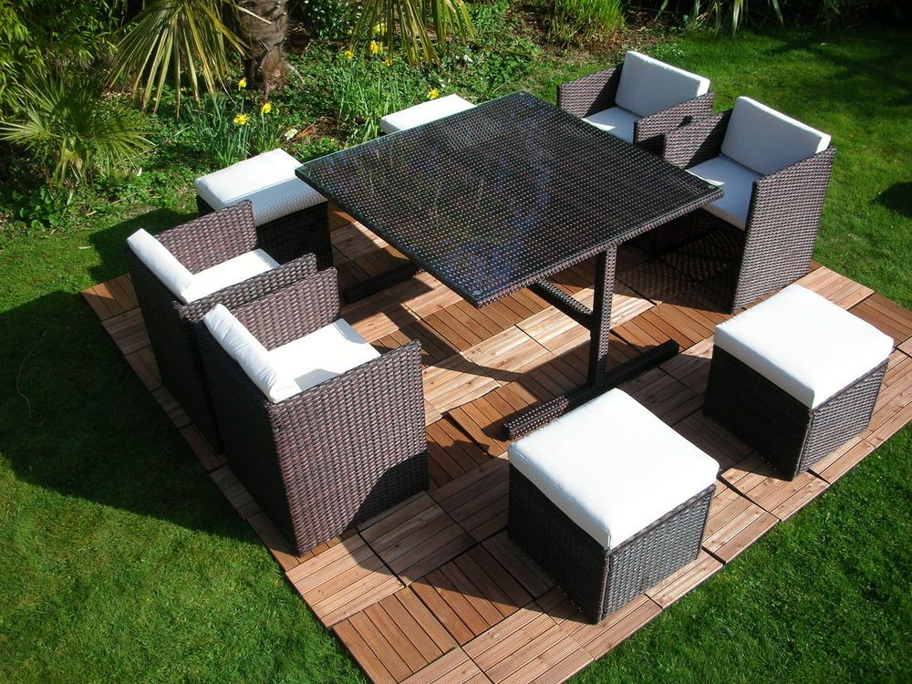 Rattan Table And Chair Set Part - 37: Rattan Wicker Conservatory Outdoor Garden Furniture Patio Cube Table Chair  Set