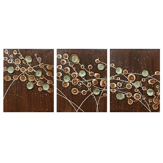 Nature wall art abstract canvas art large triptych painting of flowers in brown and green 50x20