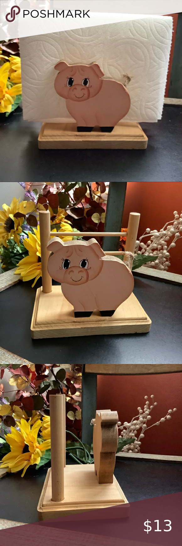 Photo of Country Farm Pig 🐖 Napkin Holder Cute vintage wooden napkin holder for your k…