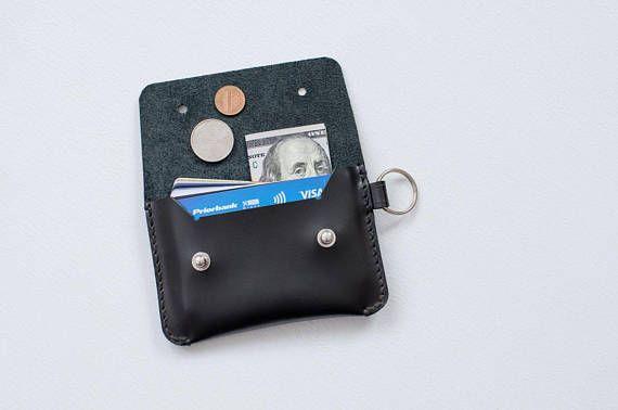 Minimalist black leather key ring cardholder wallet Small handstitched  envelope credit card holder C c0ea3ced36ef