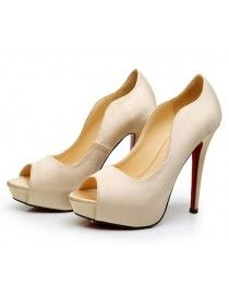 Cream Color Fish Head Satin Bride And Bridesmaid Wedding Shoes WS 072