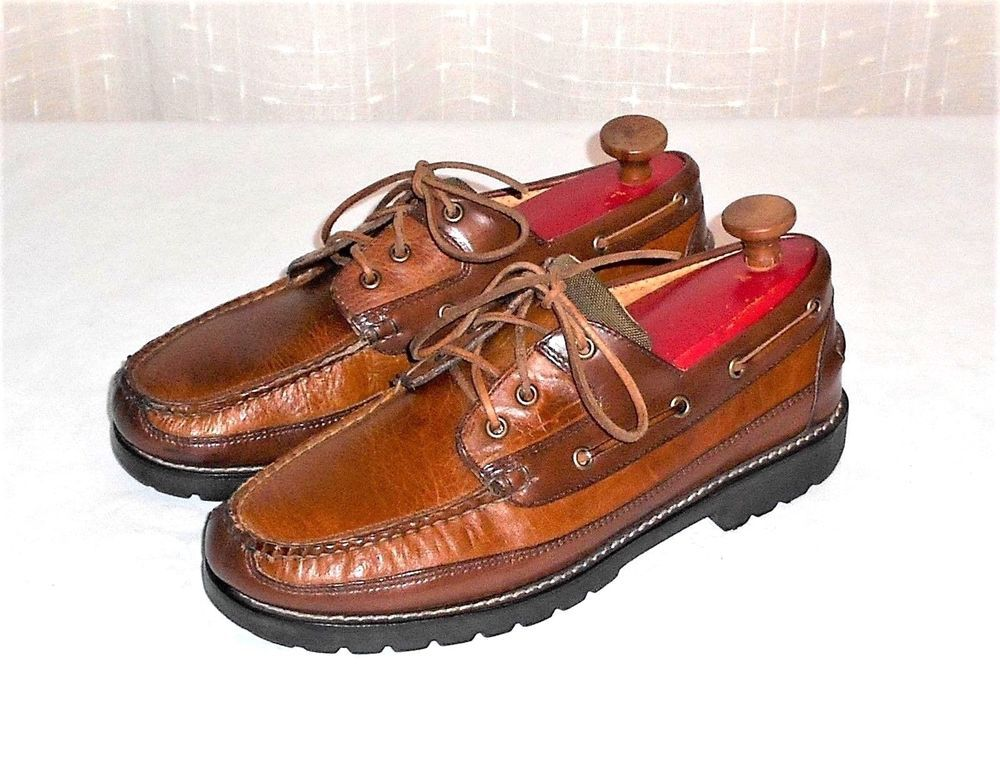 41b4ef6ab4dc L.L. Bean Brown Leather Deck Casual Moccasin Oxford Shoe Men s Size 10 EE   LLBean  CasualDeckOxfords