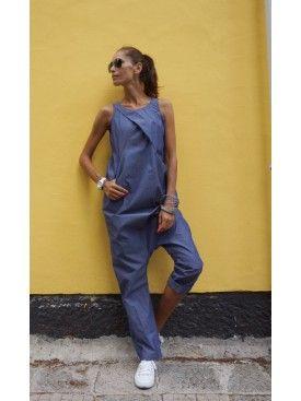 Sexy Denim Drop Crotch Jumpsuit A19430 #Aakasha #wideleg #jumpsuit #extravagant #denim #sleeveless #maxi #dropcrotch