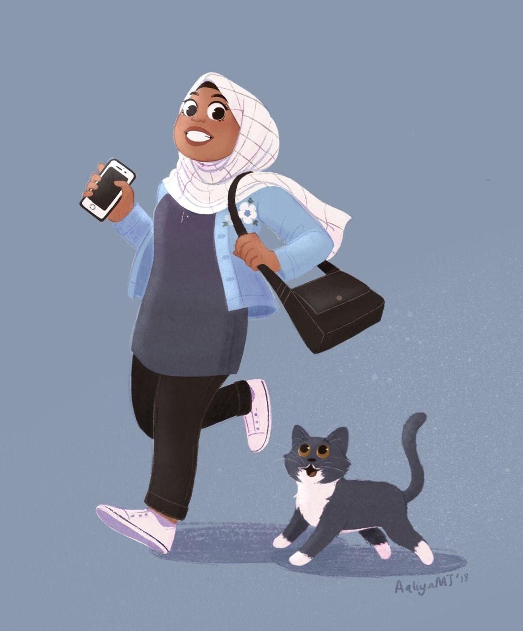 Fragments Of Chaos I Love My Cat Muslim Character Cute Couple Art Islamic Cartoon
