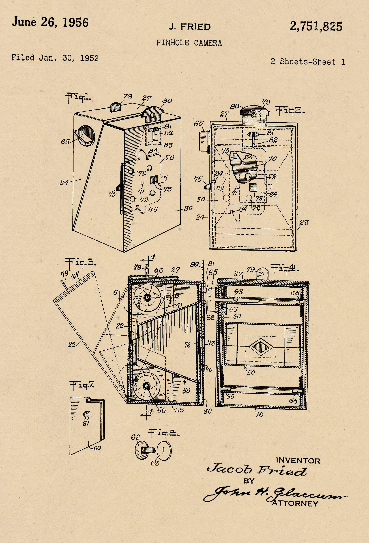 Pinhole Camera Patent Dated Jan 30 1952 Print Diagram 2751825 By Blossomprintsandmore On Etsy