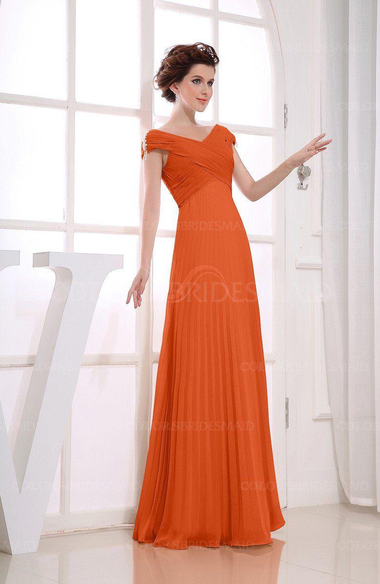 Tangerine Casual V Neck Zipper Chiffon Pleated Bridesmaid Dresses