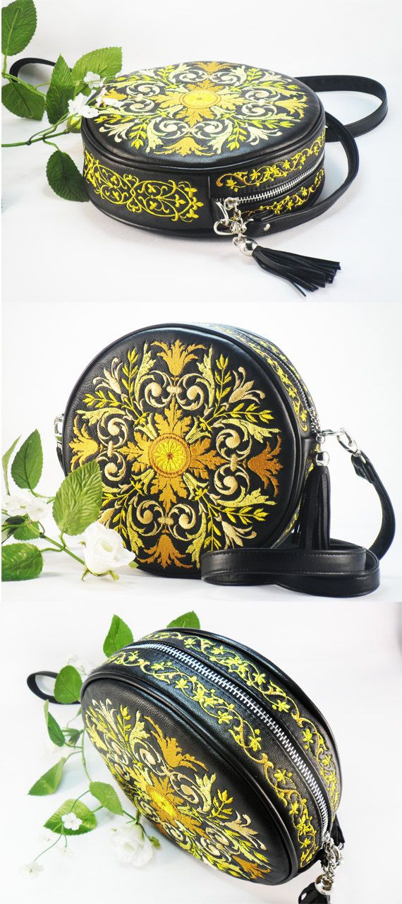 e3a06cabab2f Leather bag and embroidery Large Teal Purse Embroidered Leather Bag  Embroidered Bag Round leather handbag Black bag  leatherbag  tealpurse   embroidery
