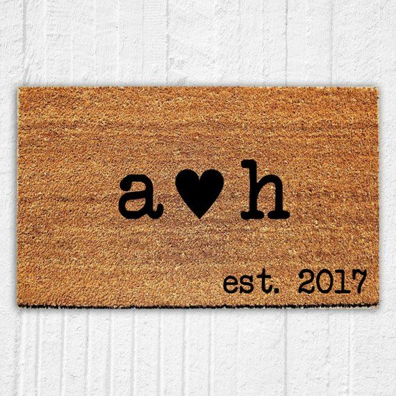 Practical Wedding Gifts For The Newlyweds: Personalized Initials And Heart Doormat