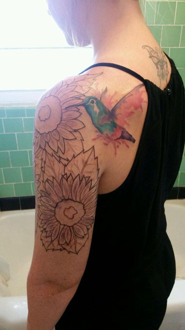 328c2d6d67744 Watercolor Hummingbird Tattoo Half Sleeve More   Tattoos ...