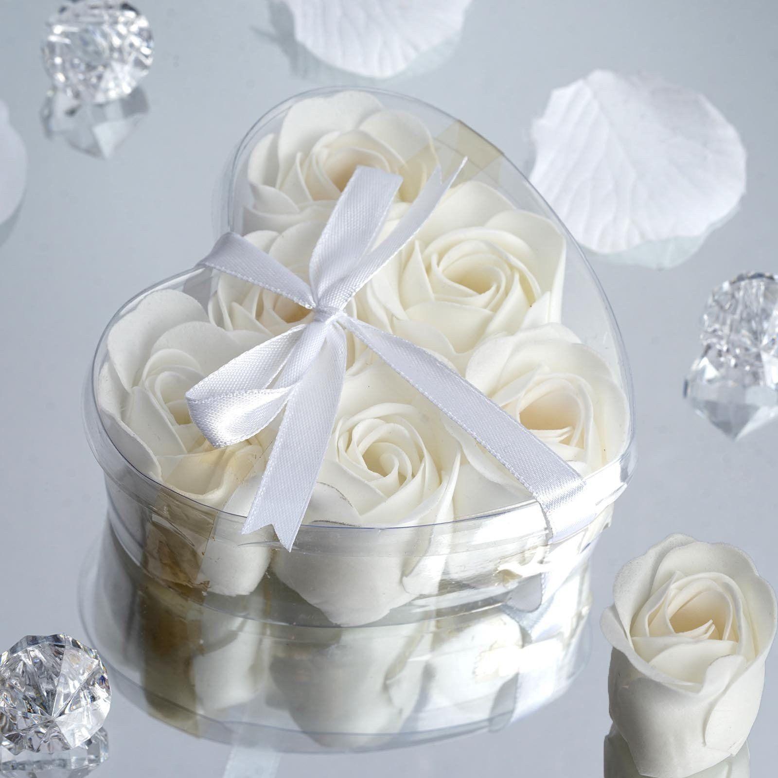 White Heart Rose Flower Petal Soap Favor Wedding Decoration Party ...