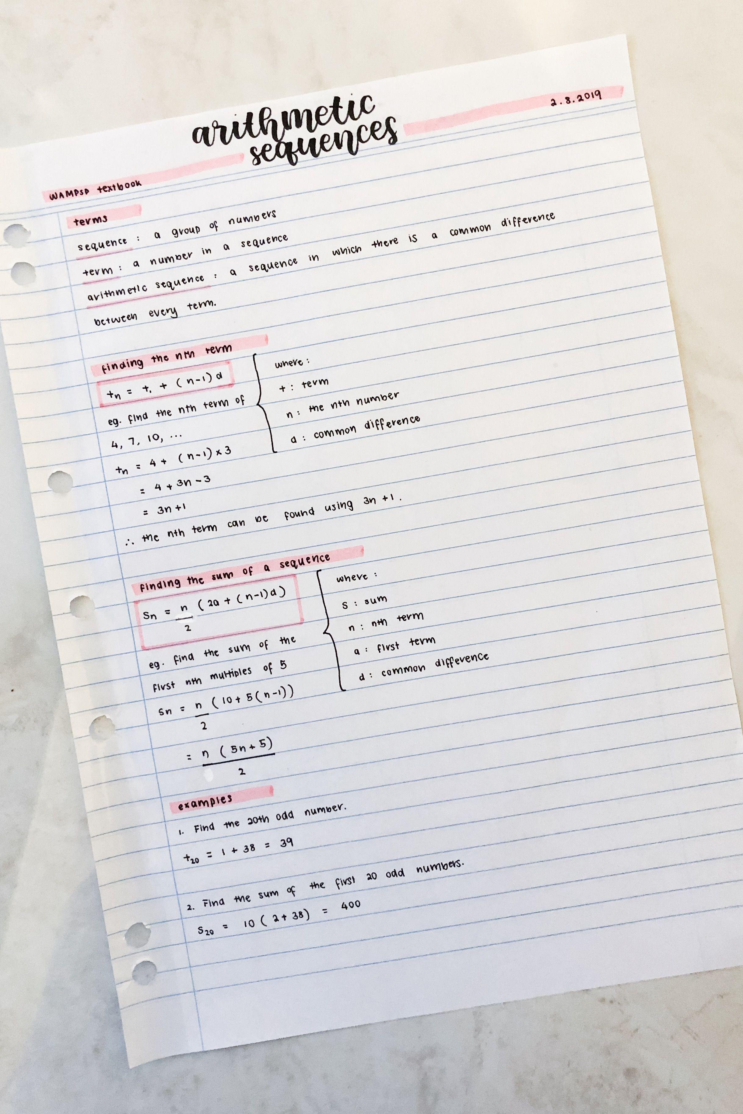 studying arithmetic sequences | oceanstudies