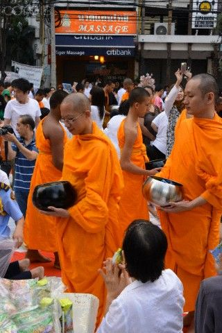 Collecting alms in Bangkok